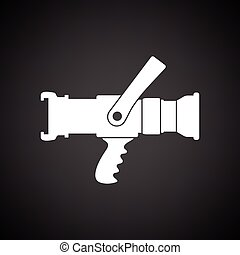 Fire hose icon. Black background with white. Vector...
