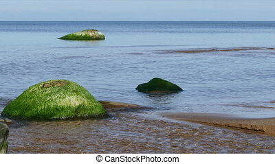 Calm seascape with stones - Calm Baltic sea seascape with...