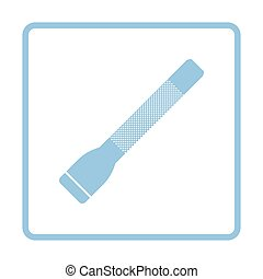 Police flashlight icon. Blue frame design. Vector...