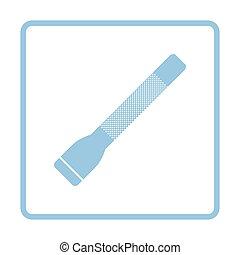 Police flashlight icon. Blue frame design. Vector...
