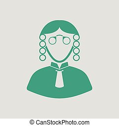 Judge icon. Gray background with green. Vector illustration.