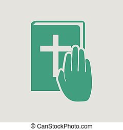 Hand on Bible icon. Gray background with green. Vector...