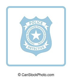 Police badge icon. Blue frame design. Vector illustration.
