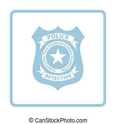 Police badge icon. Blue frame design. Vector illustration.
