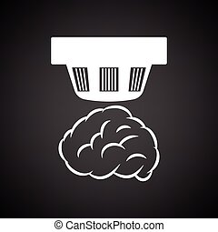 Smoke sensor icon. Black background with white. Vector...