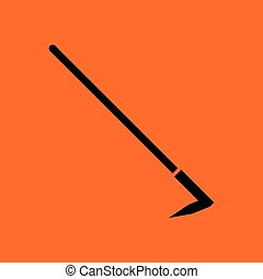 Hoe icon. Orange background with black. Vector illustration.