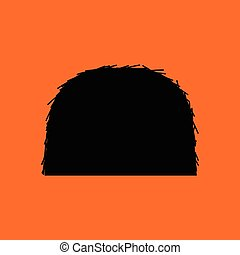 Hay stack icon. Orange background with black. Vector...