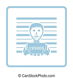 Prisoner in front of wall with scale icon. Blue frame...