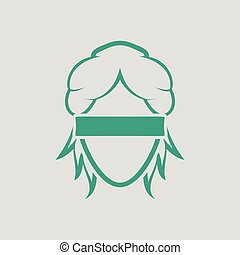 Femida head icon. Gray background with green. Vector...