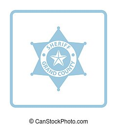 Sheriff badge icon. Blue frame design. Vector illustration.
