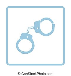 Police handcuff icon. Blue frame design. Vector...
