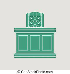 Judge table icon. Gray background with green. Vector...