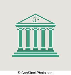 Courthouse icon. Gray background with green. Vector...