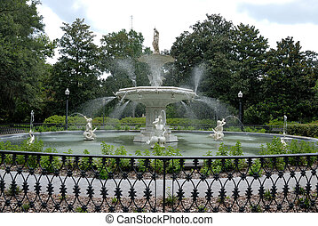 Historic Forsyth Park Fountain - Forsyth Park fountain at...