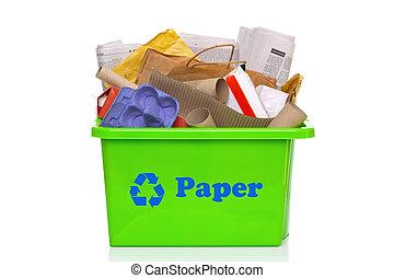 Green paper recycling bin isolated on white - Photo of a...