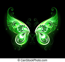 green fairy wings - Patterned, green, glowing fairy wings