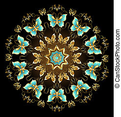 Mandala of golden butterflies - Mandala of gold and...