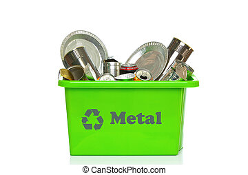 Green metal recycling bin isolated on white - Photo of a...