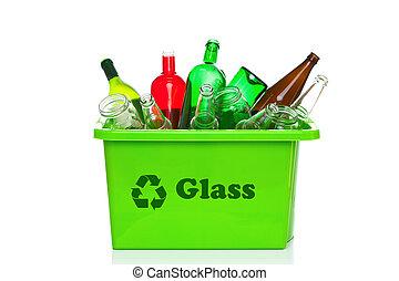 verde, vidrio, reciclaje, cajón, aislado, blanco