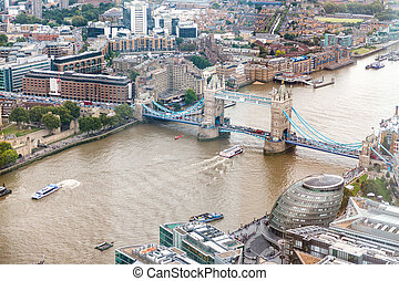 Tower Bridge and London skyline, aerial view