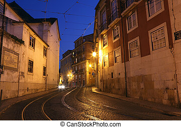 Street in the old town of Lisbon, Portugal