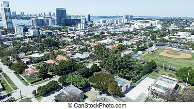 Buildings and park of Miami, aerial view