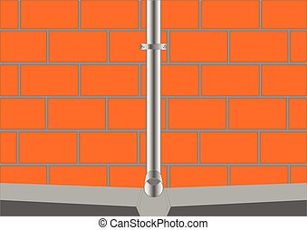 Downpipe. - Part of the downspout with a groove and a brick...