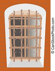 Old lattice on an old window. - Window bars on the window of...