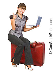 beautiful traveller - Attractive businesswoman sitting on...
