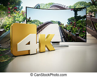 4K Ultra HD television. 3D illustration