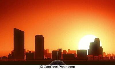 Grand Rapids Michigan USA America Skyline Sunrise Take Off -...