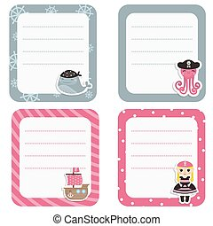 Set of cute creative cards with pir
