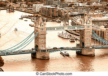 Aerial view of Tower Bridge in London, UK