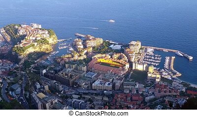 Aerial Panoramic View of the Monaco-Ville and Fontvieille District