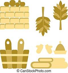 Bath and sauna Accessories - Vector Bath and sauna...