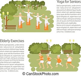 Elderly people doing exercises in different poses poster....