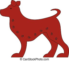 Chinese zodiac symbol red dog made by traditional Chinese...
