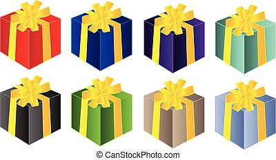 gifts in yellow ribbon