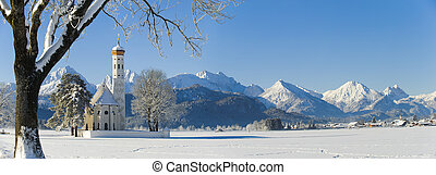 panorama landscape in Bavaria with alps mountains