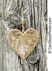 carved heart hanging on tree bark