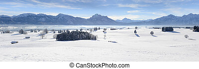 panorama landscape in Bavaria at winter - panorama landscape...
