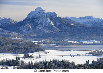 panorama landscape in Bavaria with alps mountains at winter