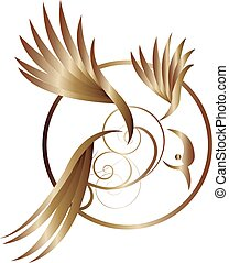 gold abstract bird