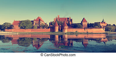 Vintage photo of Malbork castle, UNESCO World Heritage Site,...