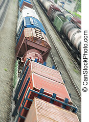 Train in movement - Train passing on station from a high...