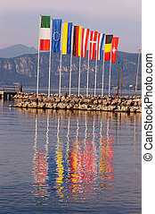 European Flags - Garda Lake Cisano Italy