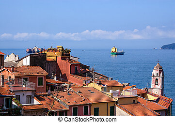 Container Ship - Gulf of La Spezia Italy - Container ships...