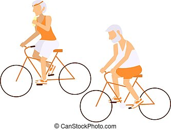 Elderly people on bicycles in different poses. Healthy...