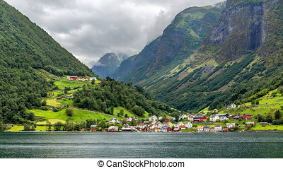 The Picturesque village of Undredal seen from the Aurlandsfjord, Norway