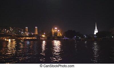 Night view of Bangkok from Chao Phraya river - Bangkok,...